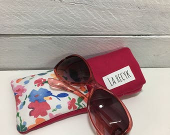 Case sunglasses glasses case, floral, Fuchsia
