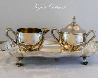 Elegant Silverplate Footed Tray by FB Rogers With Beautiful Footed Creamer and Sugar Bowl
