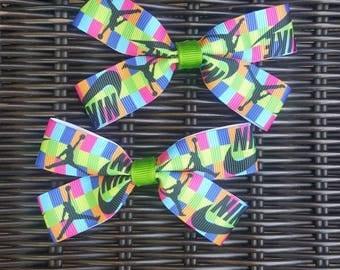 Nike hair bow set, green, pink orange