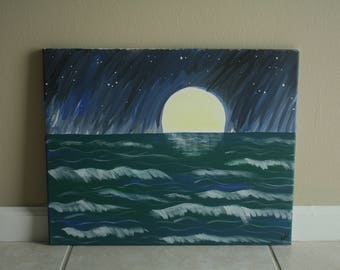 Night Ocean Acrylic Painting
