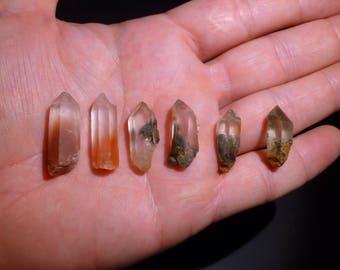 Six Lodalite Quartz Crystals: Scenic Quartz and Rabbit Hair