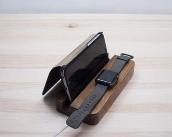 Wooden iPhone Apple watch iWatch charger Apple Watch stand iPhone stand Apple watch dock station iPhone dock station wood charging station