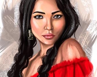 Custom digital oil painting portrait
