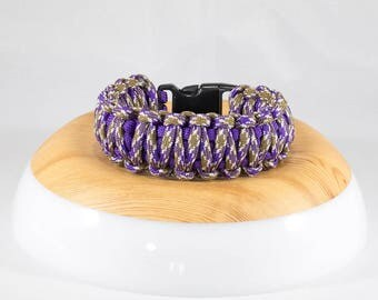 King Cobra 2-Color Survival Bracelet (Acid Purple/PB&J)