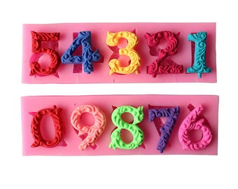 2 Pcs Decorative Numbers Silicone Mold