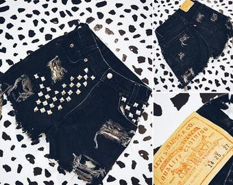 Studded Levi's Black Denim Shorts - Distressed, Shredded, Shorts, Cut Off Shorts