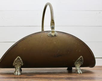 Beautiful Large brass claw foot fireplace log holder, Vintage Hearth Tools