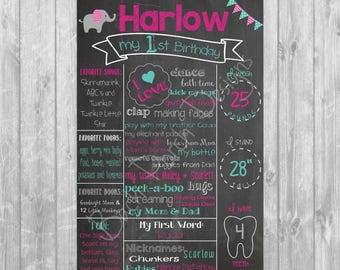 Elephant First Birthday Chalkboard Poster - Digital