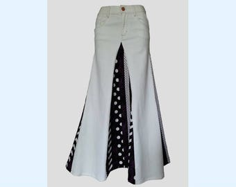 """Upcycled White GAP Jeans Made Into a Long Skirt - 27"""" Waist (Size 9 AUS/NZ) – Revamped Revolution"""