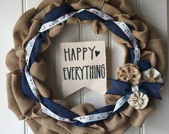 Happy Everything - Navy Floral Burlap Wreath
