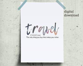 Travel Definition Printable Traveler Gift, Travel Word, Wall Art for Traveler, Word Definition Prints Download, Word Print Gift for Traveler