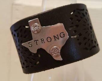 Handmade leather cuff Texas home