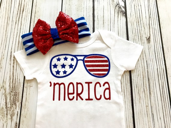 Merica Baby Girl Red White And Blue Bodysuit Outfit 4th Of July