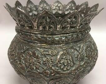 Gorgeous patterned metal bonbonnier bowl