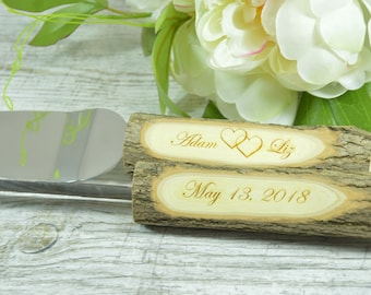 Rustic Country Chic Wedding Knife Set, Natural WOOD Branch, Cake Serving Set Rustic Wedding Cake, Server and Knife