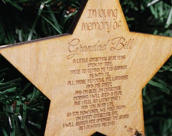Personalised Loving Memory Christmas Tree Decoration | Engraved Wooden Bauble Gift