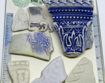 7 Impressed/Embossed Scottish Sea Pottery Shards Vintage Sea Pottery jewellery/art supplies with a seaside beach nautical theme