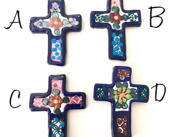 Talavera Cross/ Talavera wall cross/ decorative cross/ hand painted cross/ cross wall decor/ cross made in mexico