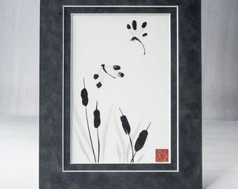 Dragonfly Art, Ink Painting, Japanese Art, Sumi-e, Zen Art,