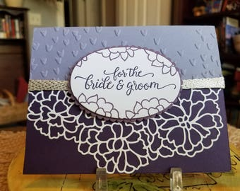 Detailed Layered Purple Wedding Card and Envelope