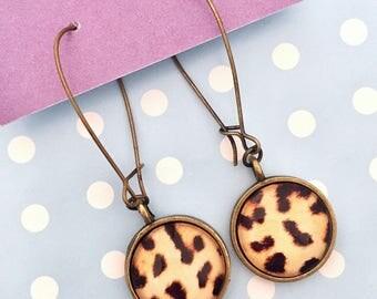 Leopard Print Bronze Dangle Earrings