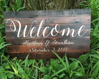 "Wedding ""WELCOME"" Sign RUSTIC"