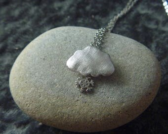 Winter snowflake and cloud necklace