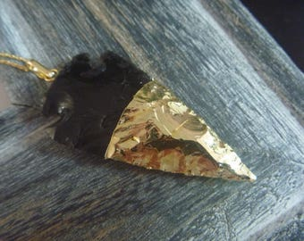 arrow obsidian gold plated over sterling necklace