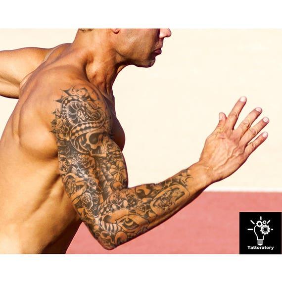 Men temporary tattoo sleeve skull tattoo full arm tattoo men for Fake tattoos sleeves