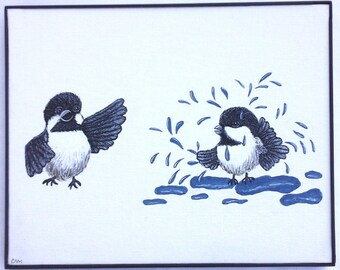 Joyful, bird, artwork, color, water, wall art, birds, singing, painting, happy, water, puddle, bath, handmade