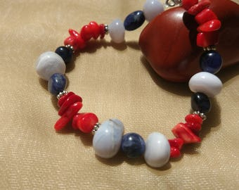 Chalcedony, sodalite and coral bracelet