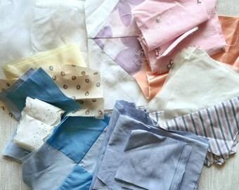 Fabric destash - fabric scraps - pastel fabric - scrap fabric bundle - pale fabric - patchwork and quilting fabric - box of material