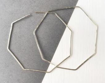 Octagon hoops, silver hoops, geometric earrings, minimalist jewelry, delicate earrings, lightweight jewelry, Valentine's Day