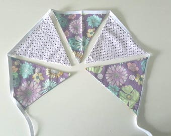 Bunting, liberty and cotton pink polka dot, 5 pieces