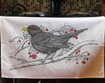 Blackbird Tea Towel