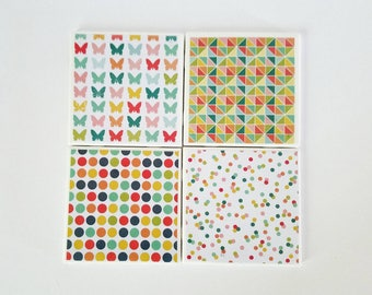 Colorful coasters, set of 4, ceramic coasters, housewarming gift, tile coasters, bright decor, butterfly coaster