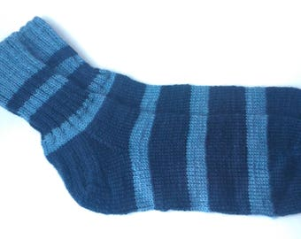 Blue socks Warm wool socks Hand knitting socks Winter socks