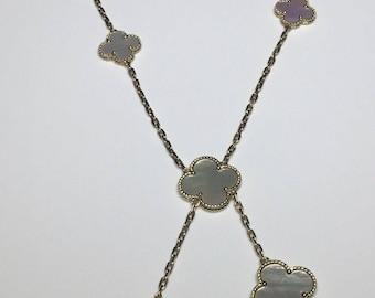 Estate 18K Yellow Gold Flower Clover Motif White MOP Necklace 17.8 Grams