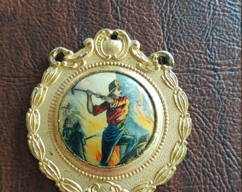 Unusual Vintage Whitehead & Hoag Fireman Medal, Gilt Metal with Celluloid Medallion, Firemen Fighting a Raging Fire With Hoses and Axe