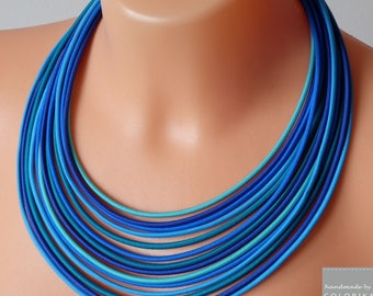 Navy necklace, nautical necklace, blue necklace, knot necklace, summer necklace, african style,summer style, summer necklace, summer jewelry