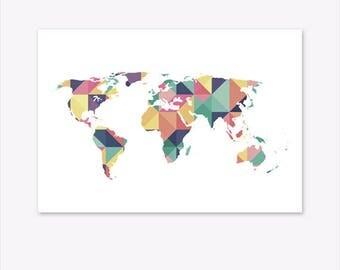 World Map Print, World Map Wall Art, World Map Canvas, World Map Poster, Geometric Print, Geometric Art, Geometric World Map, Pin Board