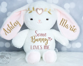 Baby Girls Easter Bunny Plush,  Keepsake Plush, First Easter Plush, Newborn Gift, Personalized Bunny Plush, Some Bunny Loves Me