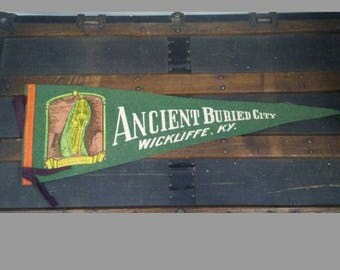 Vintage Souvenir Pennant Ancient Buried City Kentucky