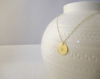 Gold coin necklace, gold filled necklace, gold disc necklace, silver disc necklace, personalized monogram necklace, initial necklace