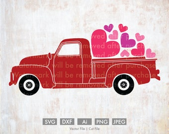 Valentine's Day Old Truck - Cut File/Vector, Silhouette, Cricut, SVG, PNG, Clip Art, Download, vday, Holidays, Retro, Love, Hearts, Cute