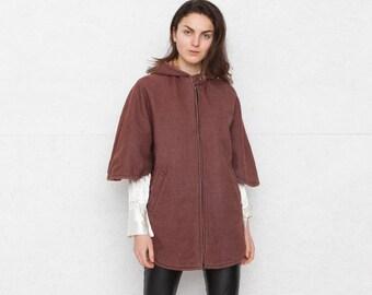 Vintage Brown Double Side Jacket Coat Cape/ Size Medium