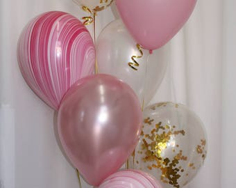 Pink Marble Balloons, Gold Confetti Balloons, Pink Balloon Mix, Pretty Pink Balloon Mix, 20 Balloon Kit