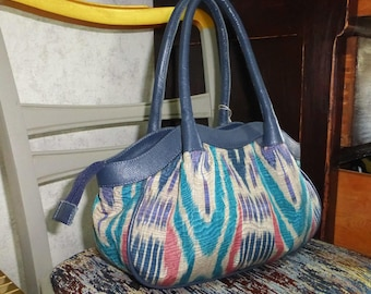 designer handmade handcraft natural leather silk ikat tote bag, hand bag, shoulder bag, UZBEK