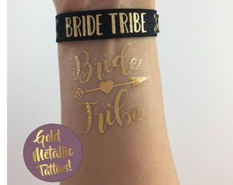 Bride & Bride Tribe Gold Metallic Flash Tattoo Tattoos Bachelorette Party Favors Beach Wedding Bride Squad Team Bride Set of 6 7 8 9 10 11