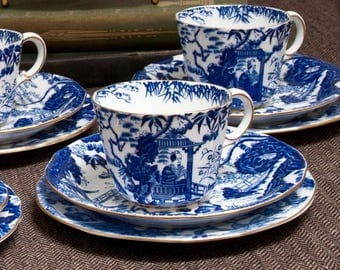 Royal Crown Derby Blue Mikado Pattern China Set Of 6 Cups and Saucers – Vintage - 1930s and 1950s
